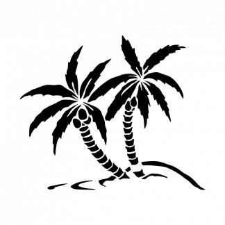 Palm Trees Ocean Beach Silhouette Car Decal Sticker